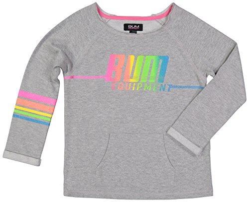 B.U.M Equipment Girls Pullover Wide Neck Long Sleeve Fleece Sweatshirt and Kangaroo Pockets -