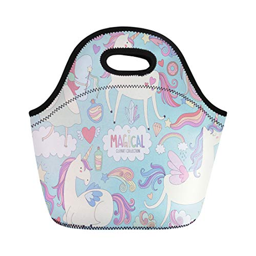 Semtomn Lunch Bags Pattern Blue Cute Magical Unicorns and Fairy Princess Colorful Neoprene Lunch Bag Lunchbox Tote Bag Portable Picnic Bag Cooler Bag