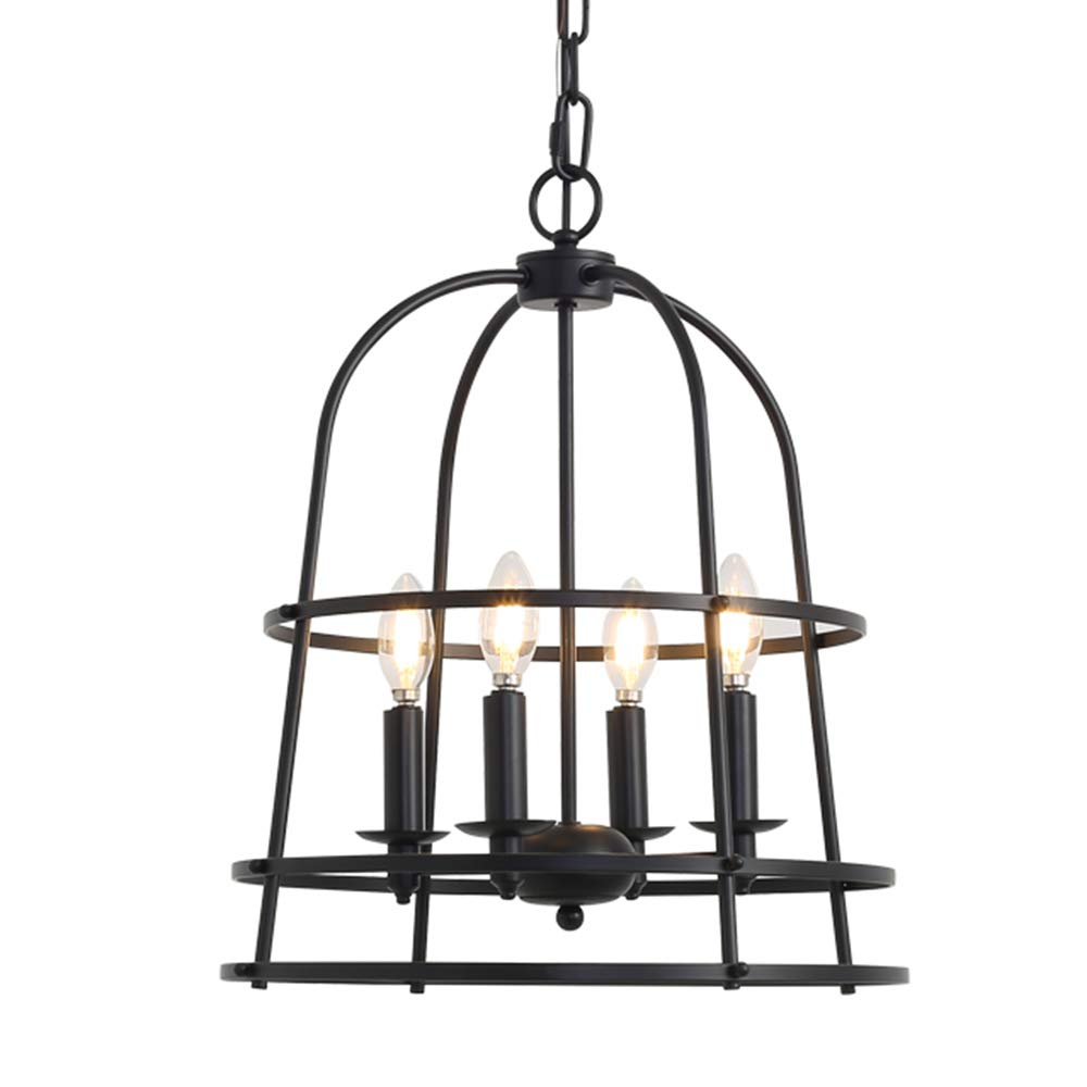 Audian pendant lights chandelier lighting fixture cage hanging kitchen island light 16 9inch painting balck iron 4 lights vintage dining room lighting