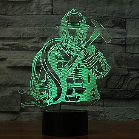 3D Bombero Luz Nocturna 7 Colores Mood Light Interruptor Táctil ...