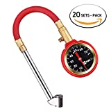 WYNNsky Heavy Duty Air Tire Pressure Gauge 5-75PSI Dial Meter Tester With Dual Head Chuck/Storage Case ( 20 SETS PACK )
