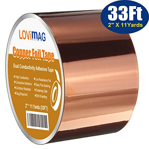 Copper Foil Tape (2inch X 33 FT) with Conductive Adhesive for Guitar & EMI Shielding, Slug Repellent, Crafts, Electrical Repairs, Grounding