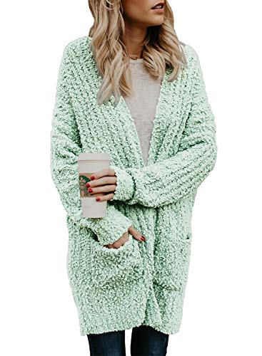 Asvivid Womens Casual Open Front Popcorn Long Cardigans Knitted Loose Winter Sweater Outwear Coat with Pocket S Mint