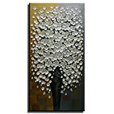 Gincleey Hand Painted 3D Oil Paintings On Canvas, Silver Gold Elegant Picture White Flower Vase Painting Grey Elegant Wall Art Textured Artwork Decor Abstract Decoration 24' H x 48' W