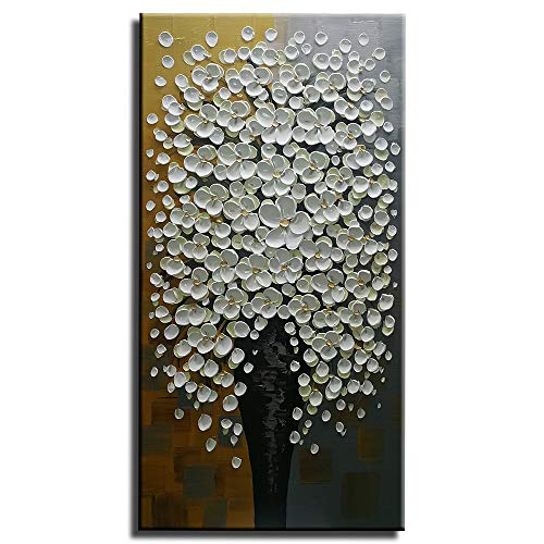 Gincleey 3D Oil Paintings On Canvas, 24x48 Inch Hand Painted Silver Picture Flower Vase Painting Grey Wall Art Textured Artwork Home Decor Abstract Decoration Framed White
