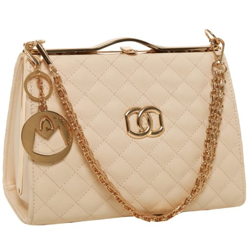MG Collection LORI Beige Classic Vintage Doctor Style Quilted Purse Shoulderbag