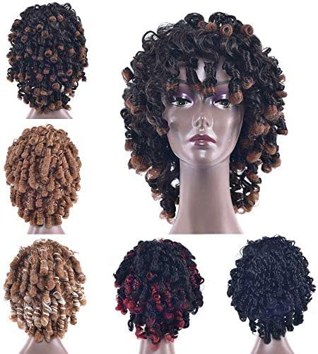 Hair wig African black wig, hair wig hair wig small volume explosive caps in Europe and America selling (color : Yellow mixed rice)