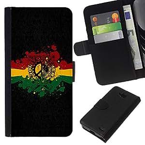All Phone Most Case / Oferta Especial Cáscara Funda de cuero Monedero Cubierta de proteccion Caso / Wallet Case for LG OPTIMUS L90 // Rasta Reggae Peace Sign