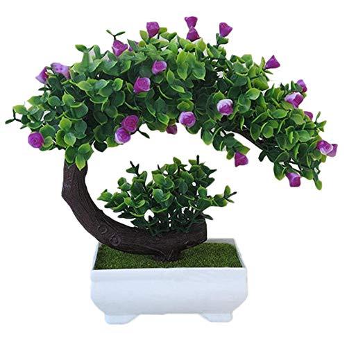 Une Plante Artificielle avec de Fausses Fleurs gaeruite simulez Le bonsa/ï Artificiel en Forme de Croissant de Rose avec Un Pot de Fleurs des Fleurs artificielles en Plastique dans Un Vase
