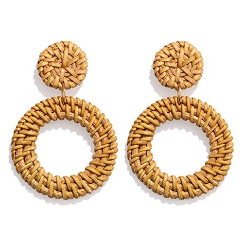 BSJELL Woven Straw Earrings Hand Craft Wicker Double Disc Drop Earrings Boho Rattan Statement Earrings for Women ()