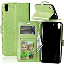 Huawei Y6 Case,YiLin [Stand Feature] Flip Premium PU Leather Stand [Wallet Case] With Built-in ID Credit Card / Cash Slots Cover for Huawei Y6 / Honor 4A [Green]