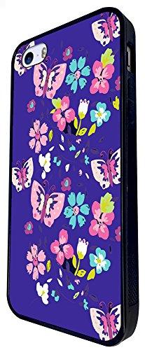 839 - Butterflies Floral Shabby Chic Roses Design iphone SE - 2016 Coque Fashion Trend Case Coque Protection Cover plastique et métal - Noir