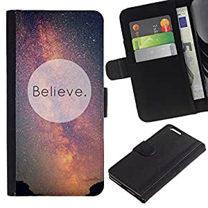 KingStore / Leather Etui en cuir / Apple Iphone 6 PLUS 5.5 / Creer Universo Vía Láctea Cosmos Inspiring