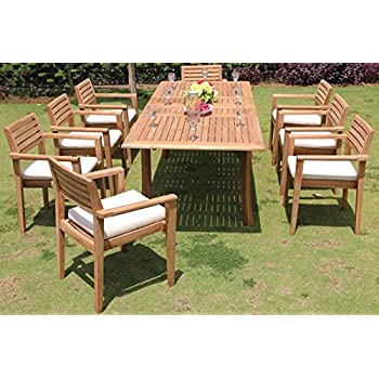 clearance 9 pc grade a teak wood dining set 94 rectangle table and 8 montana. Black Bedroom Furniture Sets. Home Design Ideas