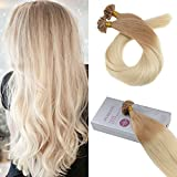 Bleaching Hair Brown To Blonde - Moresoo 16 Inch Utip Keratin Extensions Remy Human Hair Fusion Hair Extensions Nail Tip Hair Color #12 Golden Brown Ombre to #60 Blonde Human Hair Extensions 1g/1s 50G