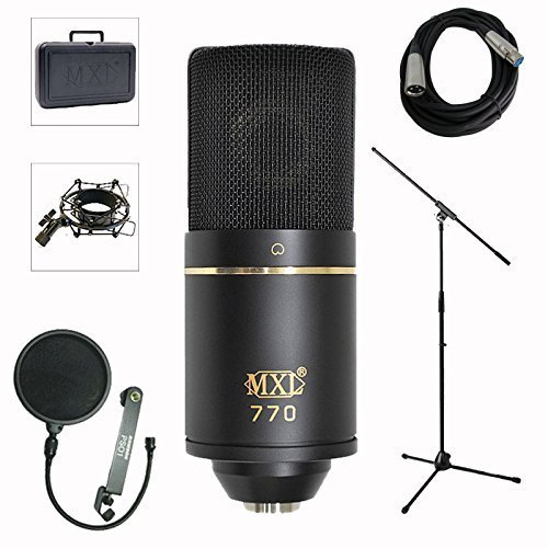 MXL 770 Professional Studio Condenser Mic + Mic Stand + Pop Filter + XLR Cable Bundle MXL770 +Mc Std + Pop F + XLR