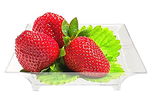 2.5 Mini Clear Plastic Square Dessert Plates. Pack Includes 50 Tasting Sample Hors Doeuvres Plates.
