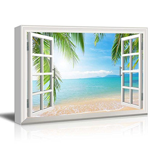 Window View Tropical Landscape with Beach and Palm Trees Gallery