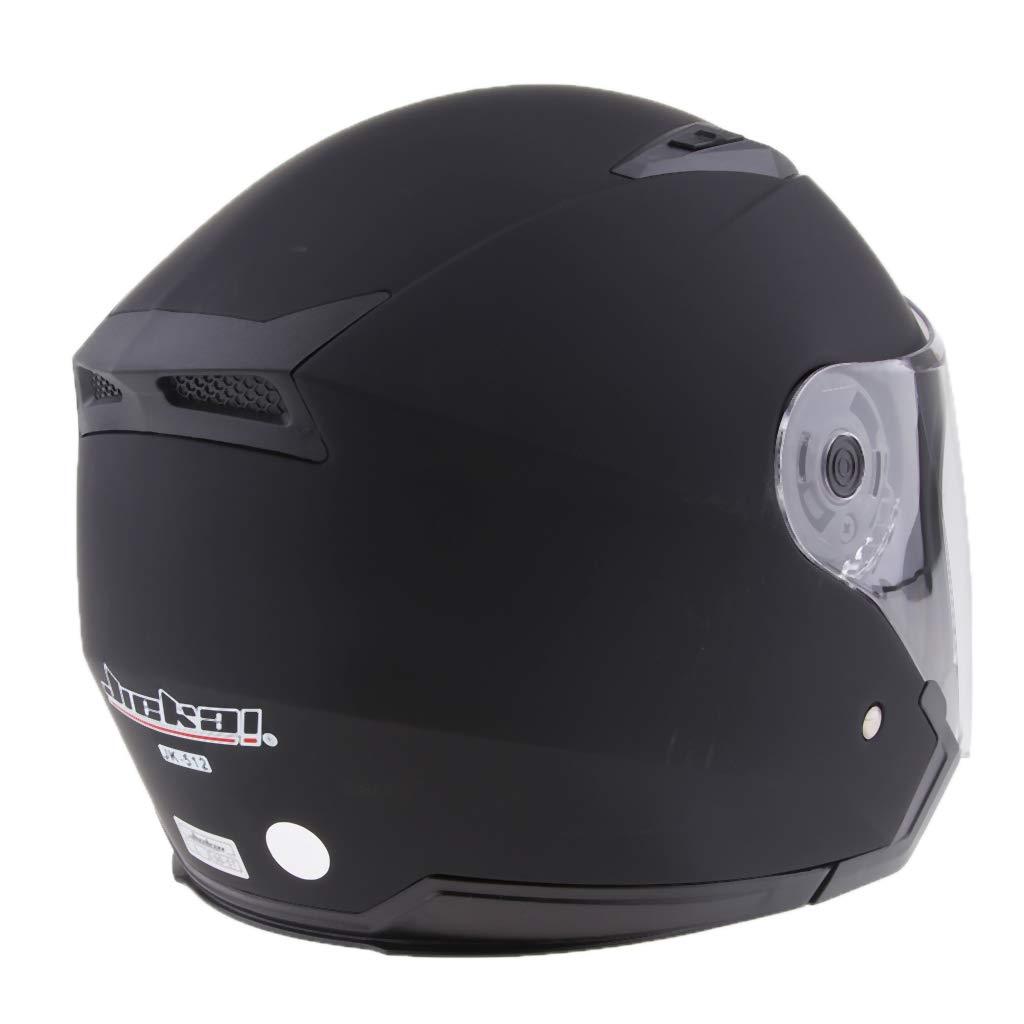Mattschwarz L perfk Motorradhelm Integralhelm Rollerhelm Voll Gesicht Helm Sturzhelm Doppelvisier Sonnenblende f/ür Damen Herren