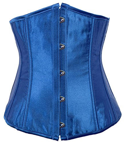 (Alivila.Y Fashion Sexy Vintage Underbust Corset Bustier 2868A With G-String-Blue-S/Bust:30-32inch Waist:24-26inch)