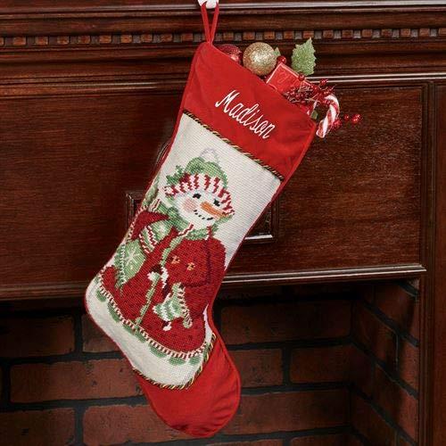 Peking Handicraft Heirloom Mrs Snowman Needlepoint Christmas Stocking Red