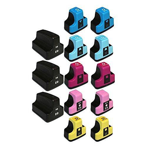 C5190 Light - YATUNINK 13 Pack Remanufactured 02 High Yield Ink Cartridge ( 1 Black, 1 Cyan, 1 Magenta, 1 Yellow, 1 Light Cyan, 1 Light Magenta ) for PhotoSmart C7180 C7280 C5190 C5183 C7275 C6275 C6270 C5185