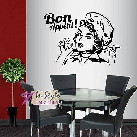 Amazon.com: Wall Vinyl Decal Home Decor Art Sticker Bon Appetit ...