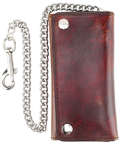 RFID Blocking Men's Tri-fold Vintage Long Style Cow Top Grain Leather Steel Chain Wallet,Made In USA,Snap - Bikers Wallet Leather Holder