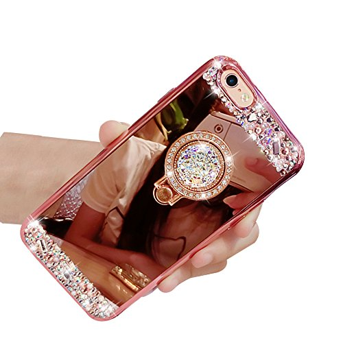 Sunroyal®iPhone 6 PLUS / 6S PLUS de 5.5 Case Funda Lujo Ultralight Carcasa Cover , Brillante Cuerpo Brillo Luxury Bling Caja de Ultra Delgada TPU Suave Silicona Protector Telefono Shell A- Roso Oro