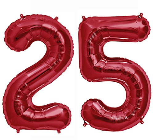 Tellpet Red Number 25 Balloon, 40 Inch -