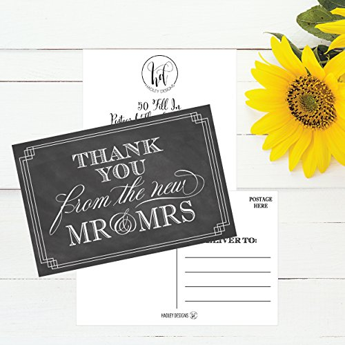 50 4x6 Chalkboard Thank You Postcards Bulk, Modern Cute Boho Blank Thank You Cards From The New Mr. and Mrs. Note Card Stationery Set For Wedding Gifts, Bridesmaid, Bridal Shower, Engagement Party Photo #3