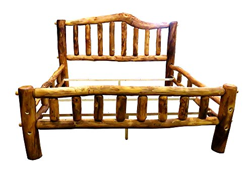 Bed Aspen King Log (Mountain Woods Furniture Aspen Heirloom Collection Snowload I Bed, King, Beeswax/Linseed Oil Finish)