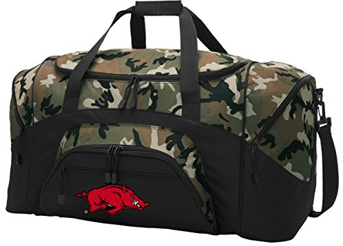Large Arkansas Razorbacks Duffel Bag CAMO University of Arkansas Suitcase Duffle Luggage Gift Idea for Men Man Him! ()
