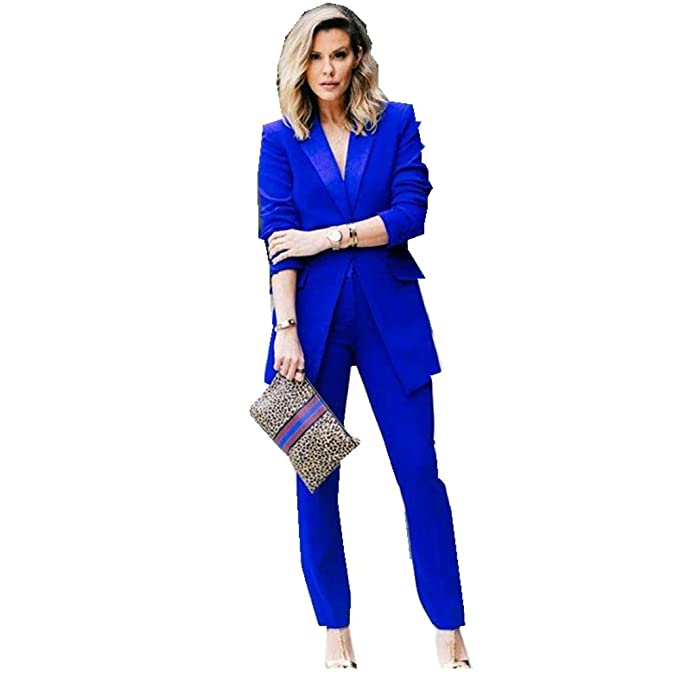 c73457e2ca72 LIBODU Royal Blue Women Pantsuits Shawl Lapel Business Suits 2 Pieces(Jacket +Pants) Wedding Groom Tuxedos: Amazon.ca: Clothing & Accessories