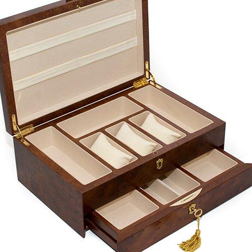 Bello Collezioni - Via Del Corso Luxury Briar Wood Men's/Women's Jewelry Box. Made in Italy by Bello Games New York, Inc. (Image #5)