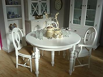 Bistrotisch DEJA Tisch rund Esstisch Landhausstil 120cm Ø weiß inkl ...