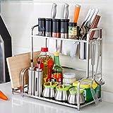 Hyun times 304 Stainless Steel Shelves Second - Tier Kitchen Storage Rack Knife Racks Seasoning Planes Landing Flavor Rack
