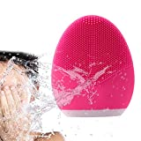 GIFZES Facial Cleansing Brush Silicone Sonic Face Cleanser Waterproof Face Brush Anti-Aging Skin Care Face Massager Exfoliating Pore Smooth Skin Reduce Blackheads Acne Dark Spots Essence Absorb Helper