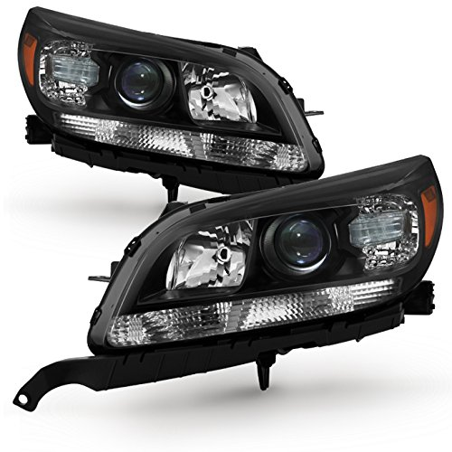 For Black Bezel 13-15 Chevy Malibu LT/LTZ Models Headlights Front Lamps Direct Replacement Left +Right