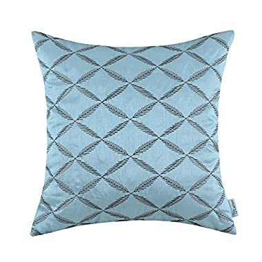 CaliTime Pillow Shell Cushion Cover Faux Silk Diamonds Chain Geometric Embroidered 18 X 18 Inches Light Blue