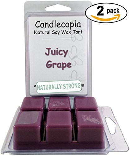 Burn Scented Candle (Candlecopia Juicy Grape Strongly Scented Hand Poured Premium Natural Soy Wax Melts, 12 Soy Wax Cubes, 6.4 Ounces in 2 x 6-Packs)