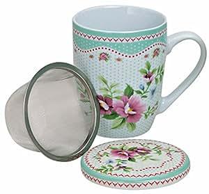 Té taza de porcelana con tapa y colador Flores claro