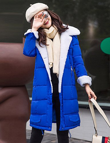 Coat Sleeves Simple Cotton Vintage Size Daily Letter Casual Long ZHUDJ Plus Polyester S Solid Women'S Cotton Polypropylene Cute Blue Padded Long BFcwxtnUq