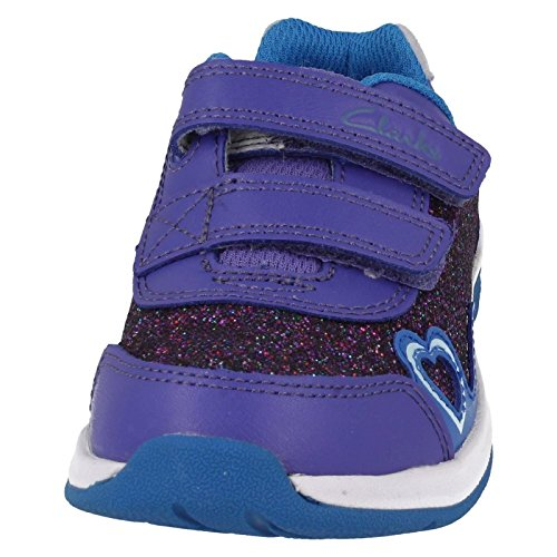 Clarks Pfeifer Ace Inf Mädchen Schuhe Leder Petrol / oder lila Violett