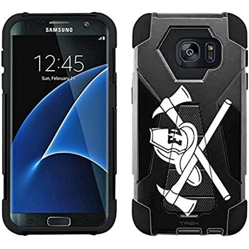 Samsung Galaxy S7 Edge Hybrid Case Silhouette Firefighter on Black 2 Piece Style Silicone Case Cover with Stand Sales