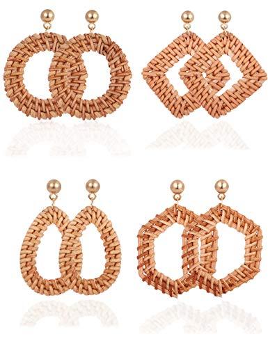 VALIJINA 4 Pairs Rattan Dangle Drop Earrings for Women Girls Bohemia Handmade Straw Woven Lightweight Geometric Statement Earrings Set (C:4 Pairs)