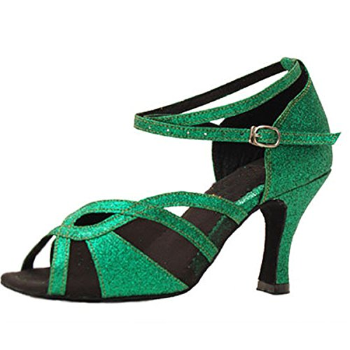 YFF Gift Women dance Shoes Ballroom latin Dance tango dancing shoes 8CM,green,36