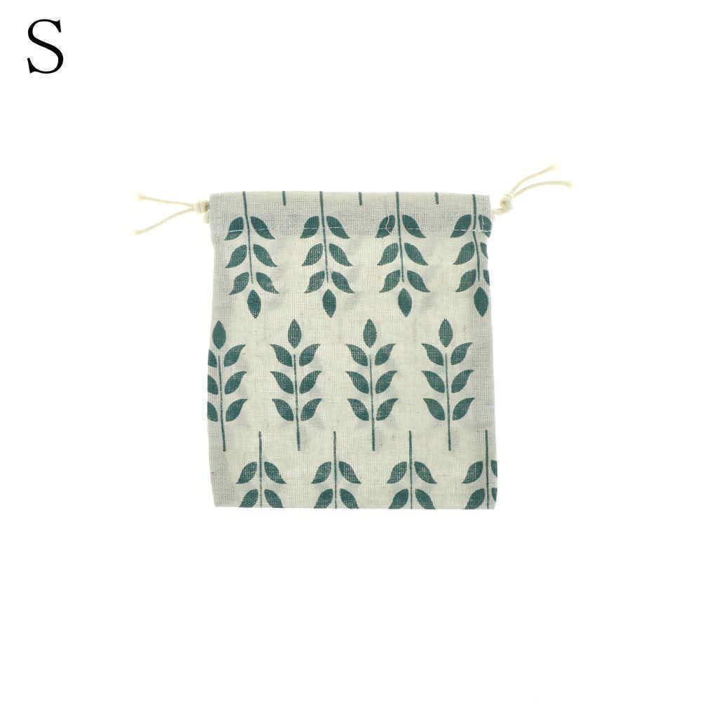 1pc cotton storage bag leaves grain drawstring travel makeup pouch shoes bag##