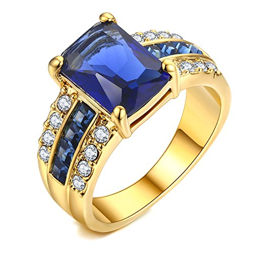 Blue Ring Zirconia Sapphire Cubic (AllenCOCO 14K Gold Plated Rings 4 Carat Simulated Blue Sapphire Cubic Zirconia Rings (6))