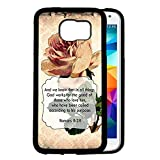 Romans 8:28 Bible Verse Vintage Grunge Wallpaper Ivory Color Rose Samsung GALAXY S6 (SM-G920) Rubber TPU Silicone Phone Case